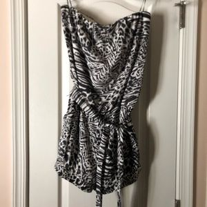 Strapless Guess animal print romper